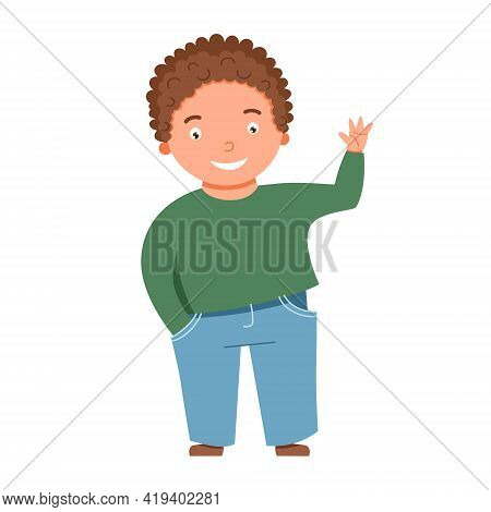 A Light-skinned, Blond, Curly-haired Boy Waves. Vector Illustration