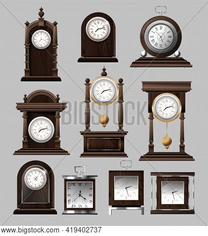 Clock Time Antique Vintage Ancient Classic Old Traditional Retro. Set Of Antique Old Realistic Clock