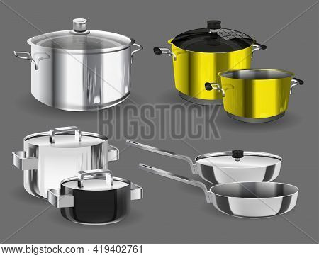 Pans Pots And Saucepans. Kitchen Pan Objects, Realistic Kitchenware Tools Collection For Cooking, Ve
