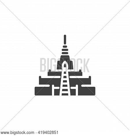 Thailand Temple Vector Icon. Filled Flat Sign For Mobile Concept And Web Design. Buddhist Temple Gly