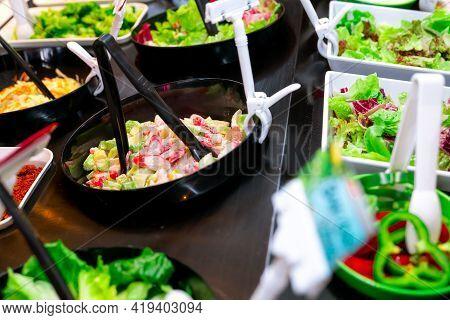 Salad Bar Buffet At Restaurant. Fresh Salad Bar Buffet For Lunch Or Dinner. Healthy Food. Fresh Gree
