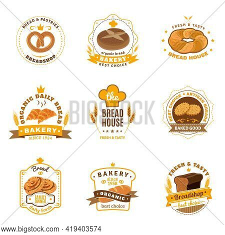 Family Business Traditional Bakery Emblems Collection For Daily Fresh Bread Cookies And Pastry Abstr