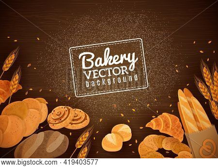 Fresh Bakery Production Against Dark Wooden Background With French Baguette Croissant And White Buns