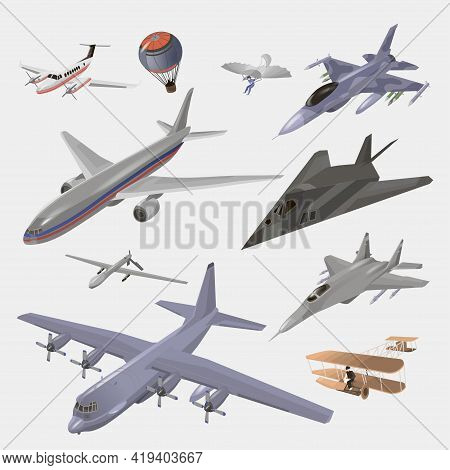 Military And Passenger Aircraft Set. Fighter Jet, Balloon, Hang Glider, Old Model, Private Jet, F-11