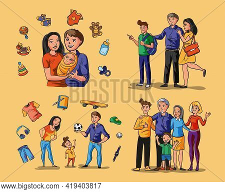 Collection With Family And Children Situations.happy Loving Family. Smiling Parents And Their Kids A