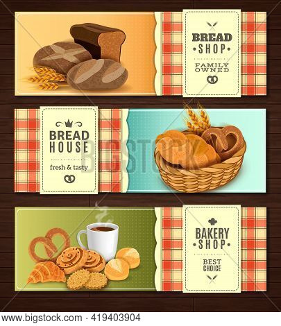 Vintage Country Style Nostalgic Bread House 3 Flat Horizontal Banners Set With Cookies Basket Isolat