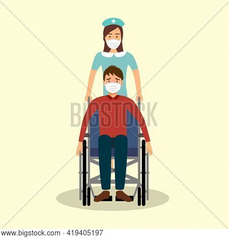 Young Nurse Pushing A Man Patient In Wheelchair. They Wear Medical Face Mask For Virus Prevention.