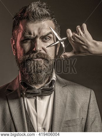 Vintage Barbershop, Shaving. Barber Scissors. Mens Haircut. Bearded Man, Long Beard, Brutal, Caucasi