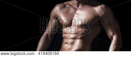 Sexy Torso. Handsome Big Muscles Man Posing At Studio. Muscular Sexy Man. Handsome Sexual Strong Man