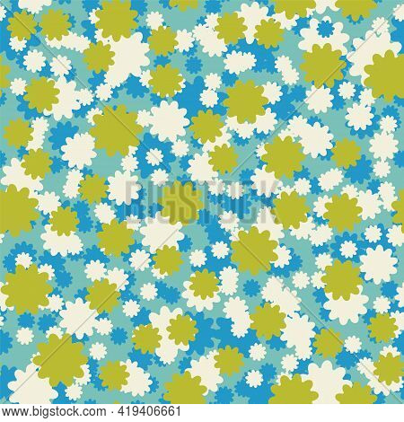 Vector Small Ditsy Flowers Seamless Pattern Background.