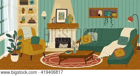 Living Room With Fireplace, Interior Hand Drawn Vector Illustration. Home Modern Interior Design. Co