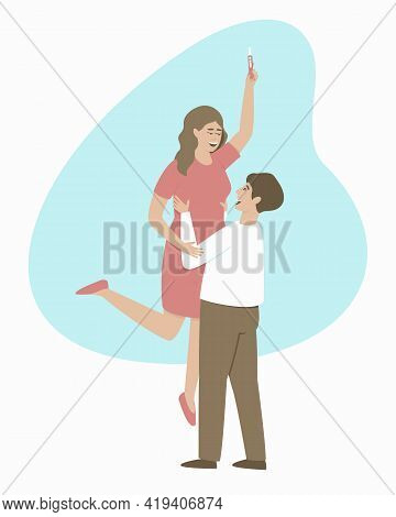 Happy Couple Rejoice At Positive Pregnancy Test. The Man With Joy Lifted The Woman In His Arms. Happ