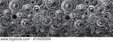 Technology Development Concept. Background In The Form Of A Banner From Various Mechanisms. Gears In