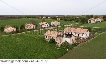 Aerial View Of Abandoned Ghost Village. Old Abandoned Village Houses