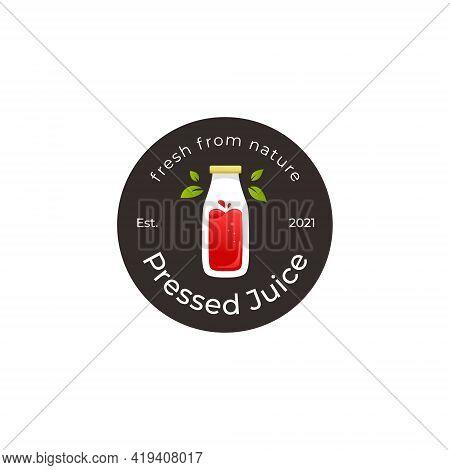 Pressed Bottle Smoothie Juice Logo Badge Icon Template
