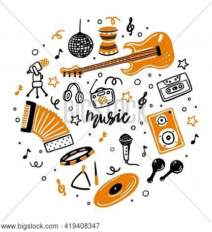 A Set Of Vector Music Icons. Hand-drawn Doodles, Musical Instruments, Retro Music Equipment. Music O