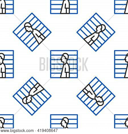Line Suspect Criminal Icon Isolated Seamless Pattern On White Background. The Criminal In Prison, Su
