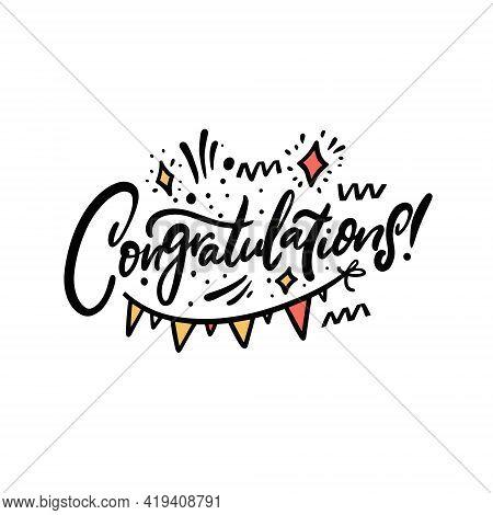 Congratulation Hand Drawn Colorful Lettering Phrase. Celebration Text.