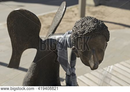 Saint Petersburg, Russia - April 17, 2021: Sculpture Of A Sad Angel Dedicated To The Doctors Who Die