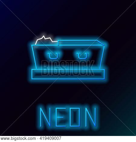 Glowing Neon Line Open Coffin With Dead Deceased Body Icon Isolated On Black Background. Funeral Aft