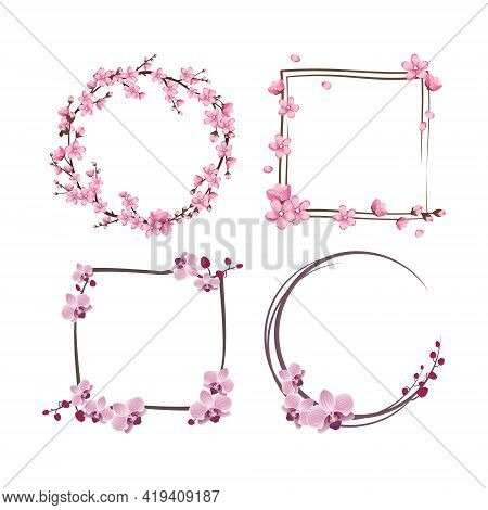 Set Of Frames With Sakura And Orchid Flowers. Pink Cute Cherry Wreaths. Festive Decorations For Wedd