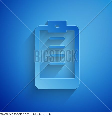 Paper Cut Clipboard With Checklist Icon Isolated On Blue Background. Control List Symbol. Survey Pol