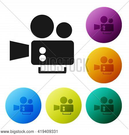 Black Cinema Camera Icon Isolated On White Background. Video Camera. Movie Sign. Film Projector. Set