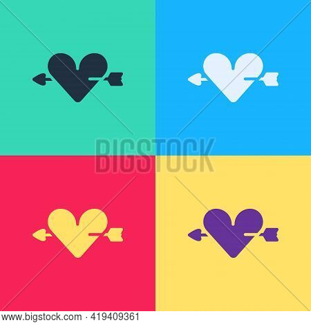 Pop Art Amour Symbol With Heart And Arrow Icon Isolated On Color Background. Love Sign. Valentines S