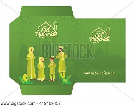 Muslim Family Blessing Eid Mubarak To Grandparents Through Smart Phone Screens Using Video Call Duri
