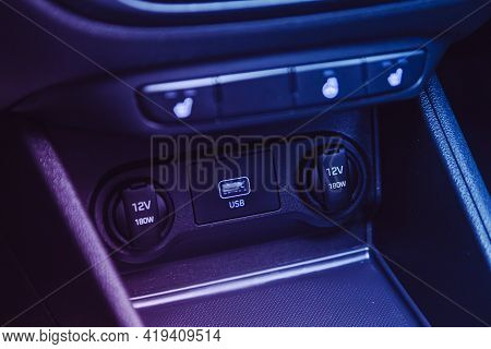 Novosibirsk, Russia - April 25 2021: Hyundai Solaris , Close Up Of A Charging In The Car, Cigarette