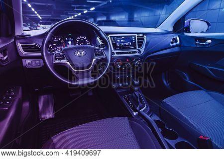 Novosibirsk, Russia - April 25 2021: Hyundai Solaris , Salon Of A New Stylish Car, Steering Wheel ,
