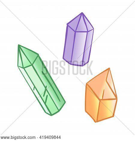 Three Varicoloured Crystals, Hand Drawn Isolated Vector Illustration In Cartoon Style