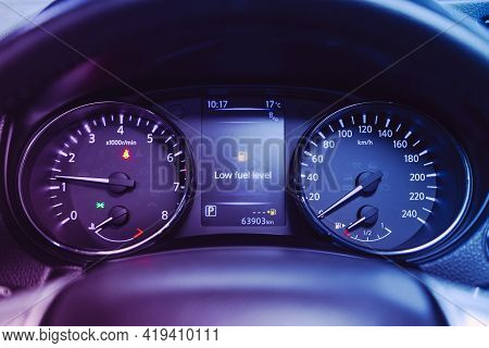 Novosibirsk, Russia - April 25 2021: Nissan X-trail , Close-up Of Round Dashboard, Speedometer And T