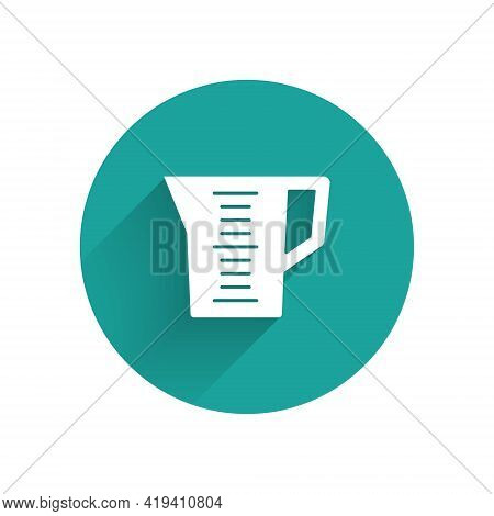 White Measuring Cup To Measure Dry And Liquid Food Icon Isolated With Long Shadow. Plastic Graduated