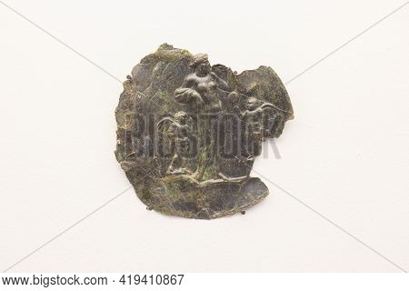 Merida, Spain - December 20th, 2017: Bronze And Silver Roman Mirror. 1st Century Bc. National Museum