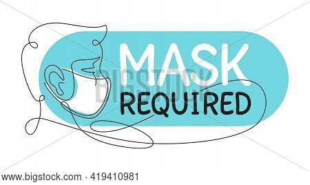 Mask Required, No Entry Without Mask Sticker - Thin Continious Line Decorated Person Character In Vi