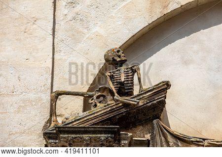 Sculpture Above The Entrance To The Church Of Purgatorio In Gravina In Puglia. Italy