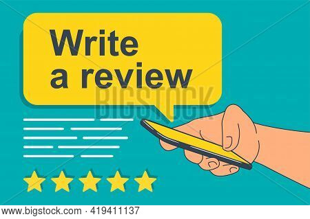 Write A Review, Thank You For Five Stars Feedback Motivation - Five Rating Stars Collecting Into Pos