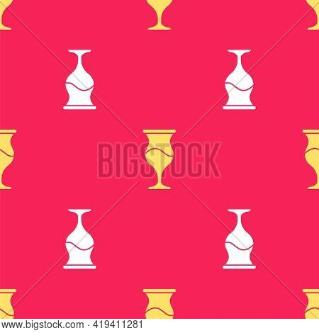 Yellow Jewish Goblet Icon Isolated Seamless Pattern On Red Background. Jewish Wine Cup For Kiddush.