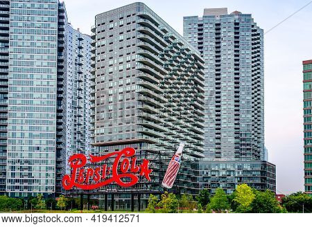 New York City, Usa - July 14 2014: Pepsi Cola Sign At Gantry Plaza State Park. Seventy Six Years Old
