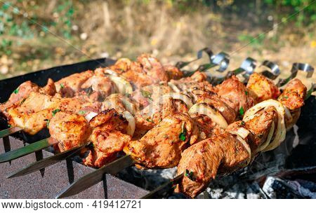 Grilled Marinated Meat With Onion On Skewers. Cooking Shashlik Outdoors. Close-up