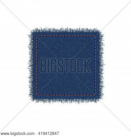 Denim Square Shape With Stitches. Torn Jean Patch With Seam. Vector Realistic Illustration On White