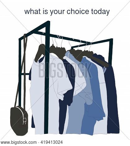 Sketch Drawing On White Background  Where Is A Rail With Clothes In A Blue Color Palette And An Insc