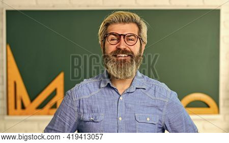 College And School Student. Exact Sciences. Happy Teacher In Glasses. Back To School. Develop Logic