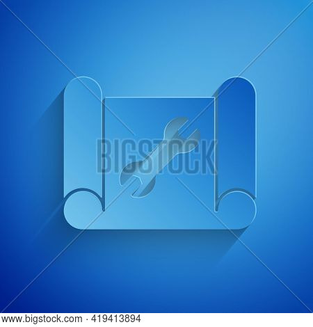 Paper Cut Graphing Paper For Engineering And Wrench Icon Isolated On Blue Background. Paper Art Styl