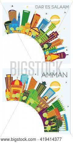 Amman Jordan and Dar Es Salaam Tanzania City Skyline Set with Color Buildings, Blue Sky and Copy Space.