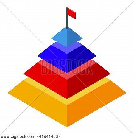 Marketing Mix Pyramid Icon. Isometric Of Marketing Mix Pyramid Vector Icon For Web Design Isolated O