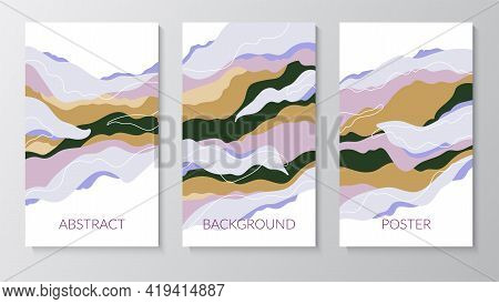 Set Of Abstract Posters With Composition Of Organic Shapes In Trendy Modern Style. Place For Text. S