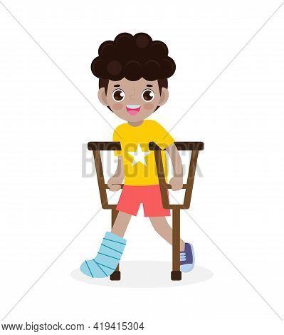 African-american Children Injured With Broken Leg In Gypsum. Little Kid Standing On Crutches, Cartoo