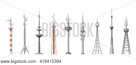 Cell Towers And Telecoms Set. Metal Construction With Parabolic Antennas Radar Spiers Wireless Globa